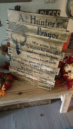 The hunters Prayer is a beautiful prayer that most great hunters love!! This is a wood wall hanging made out of pallet wood held together with furring strips and screws with 2 D-ring hooks on the back for hanging. I personally love to pick unique looking wood as I believe it adds character to the piece. I love holes and imperfections for that rustic look. If you dont like that, just let me know and Ill do my best to find you what youd like. Each piece will be a little bit different due to…