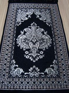 New BLACK islamic prayer rug - CARPET - Mat Namaz Salat Musallah islamic gift