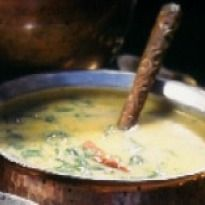 Aalan ka Saag Recipe - A unique combination made into a `daal' like preparation with spinach, besan and moong dal.