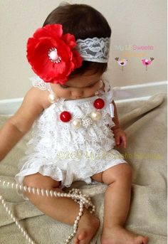 White  Vintage Lace Petti Romper  Photo by MyLilSweetieBoutique, $19.95