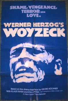 """Original American version of movie poster for """"Woyzeck"""", directed by Werner Herzog, 1979 This Is Us Movie, Love Movie, Top 100 Films, Werner Herzog, Jackie Brown, Stage Play, Amazon Prime Video, Cannes Film Festival, Film Posters"""