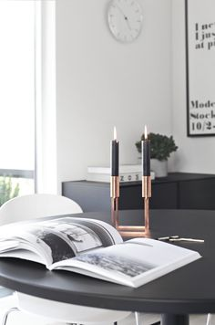 by lassen ♥ Copper Candle Holders, Copper Interior, Swedish Decor, By Lassen, Home Decor Vases, Simple Living Room, Beautiful Interior Design, Scandinavian Home, Interior Styling