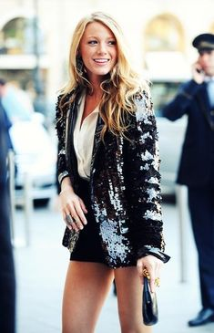 Get the look: Serena Van Der Woodsen - I am repinning this because I STILL love my sequin blazer just as much today as the day I bought it. #Christmas #thanksgiving #Holiday #quote