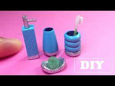 DIY Miniature Bath Accessories ~ mini toothbrush, shampoo, etc. - YouTube