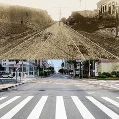 Foto comparativa: Avenida Brigadeiro Luiz Antonio, região dos Jardins, em 1902 (foto de Aurélio Becherini) e em 2014 (foto de Flavio Moraes).