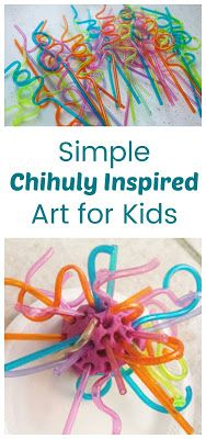 An easy hands on art activity for preschoolers and early elementary. They use safe materials to explore sculpture similar to Chihuly& Glass Sculptures. Process Art Preschool, Preschool Art Projects, Preschool Art Activities, Preschool Artist Theme, Kid Crafts, Artists For Kids, Art For Kids, 3d Art Projects, Sculpture Projects