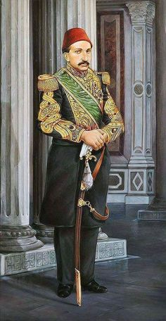 """""""Sultan Abdulhamit II in Ciragan palace"""" 116 x 60 cm, Oil 24 carat gold on canvas, by """"Florans Atlantis"""". The personal collection of Mr. Royal Family Portrait, Desert Art, Arab Men, Book Of Kells, Ottoman Empire, Islamic Art, Portraits, Old Photos, Art History"""