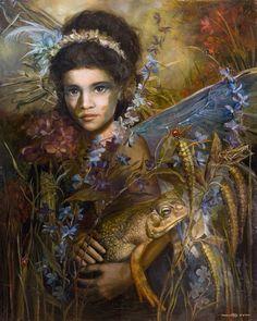 Wild fairy and a bullfrog friend. (Artist: Annie Stegg.)
