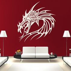 Dragon Head Spiked Fantasy Dragons Wall Stickers Home Decor Art Decals available in 5 Sizes and 25 colors Large Burgundy * Be sure to check out this awesome product.