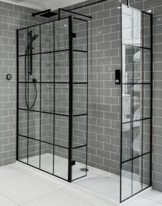 your bathroom into a contemporary sanctuary with our Walk In Black Framed Glass Shower Screen! Elegant & Chic, pair with grey metro tiles for a striking look! your bathroom into a contemporary sanctuary with our . Metro Tiles Bathroom, Black Tile Bathrooms, Modern Master Bathroom, Glass Bathroom, Small Bathroom, Fully Tiled Bathroom, Rental Bathroom, Bathroom Showers, Bathroom Renovations
