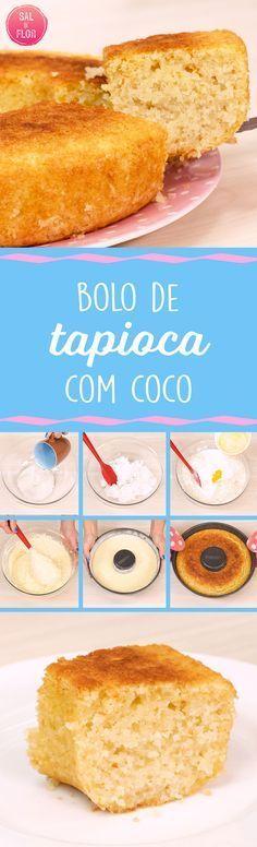 Talvez esse seja o bolo mais brasileirinho que temos. Receita de Bolo de Tapioca com coco. Receita para festa junina, bolo para chá da tarde. #bolo #tapioca #coco #festajunina #receita #receitas #vídeo #doce #sobremesa #café