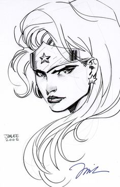 Wonder Woman pen & ink by Jim Lee