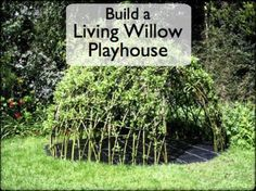 Growing your child a living den or playhouse is easier than you might think. This article tells you how you can do it, and even make it an exciting project to get your children involved in. Backyard Games Kids, Backyard Projects, Garden Projects, Art Vert, Garden Playhouse, Playhouse Plans, Garden Toys, Living Willow, Sensory Garden