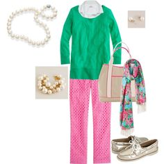 Preppy Pink & Green, created by tutumuch on Polyvore
