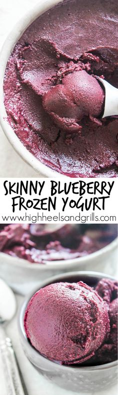 Skinny Blueberry Frozen Yogurt - Blueberries, honey, yogurt, and a squeeze of lemon. Just four ingredients to bring you this delicious dessert!