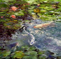 537 Koi and Lilies by Chuck Larivey Oil ~ 30 x 30 Pond Painting, Lake Painting, Abstract Watercolor, Abstract Canvas, Watercolor Tattoos, Pond Drawing, Drawing Board, Painting Inspiration, Art Inspo