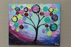 Original painting on canvas purple swirl tree by DanlyesPaintings
