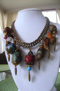 Vintage Pre War 1930's Miriam Haskell Chunky Charm Bauble Necklace | eBay