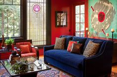 Living Room by Suzanne Childress Design #color #Asian