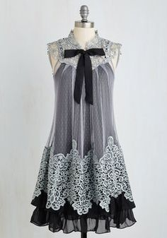 Expression of Elegance Dress in Noir by Ryu - Black Grey Crochet Tiered Tie Neck Party Tent \/ Trapeze Sleeveless Woven Better Lace Vintage Inspired Pretty Outfits, Pretty Dresses, Beautiful Dresses, Cute Outfits, Dresses Dresses, Evening Dresses, Pretty Clothes, Dresses Online, Formal Dresses