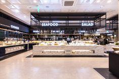 Seafood restaurant Jumbo 작전점 - danaham Buffet Restaurant, Hotel Buffet, Hall Design, Facade Design, Restaurant Interior Design, Office Interior Design, Interior Shop, Commercial Design, Commercial Interiors