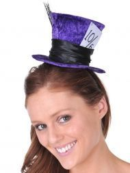Mini Top Hat Purple Mad Hatter Alice in Wonderland Costume Theme Party Supplies