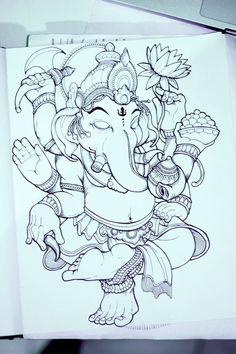 Ganesha by Bayu A. Wiguna, via Behance Mehr Ganesha Drawing, Ganesha Painting, Ganesha Art, Shri Ganesh, Ganesha Tattoo Lotus, Lotus Tattoo, Tattoo Ink, Hand Tattoos, Sleeve Tattoos