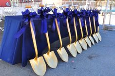 Leaning shovels at Saratoga Groundbreaking Ceremony for Woodlawn Avenue Parking Garage in Saratoga Springs, NY Science Party, Exhibition Booth Design, Staff Appreciation, Ceremony Decorations, Opening Ceremony, Grand Opening, Event Planning, Special Occasion, Product Launch