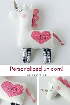 Personalized baby gifts Personalized unicorn plush Unicorn birthday party Unicorn for baby shower Unicorn for babies Unicorn for girls toys / Единорд, Sewing Projects For Kids, Sewing For Kids, Diy For Kids, Sewing Ideas, Party Unicorn, Unicorn Birthday Parties, Unicorn Gifts, Diy Birthday, Birthday Gifts