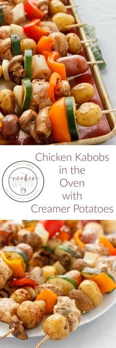 Chicken Kabobs in the Oven | http://thecookiewriter.com | @thecookiewriter | #chicken