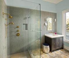 SF Ranch House Retreat - farmhouse - bathroom - San Francisco - Love this bathroom-the small hexagonal tiles work perfectly with the large moroccan inspired tile on the bathroom's main floor.  Simple but so interesting.