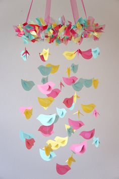 Bird Mobile Pink Yellow Aqua for Baby Nursery by LoveBugLullabies, $59.00