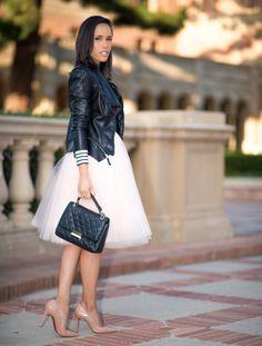 Moto Jacket and Tulle Skirt Blush Tulle Skirt, Lace Skirt, Tulle Skirts, Cropped Leather Jacket, Leather Jacket Outfits, Moto Jacket, Brunch Outfit, Fashion Beauty, Womens Fashion