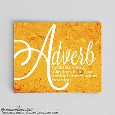 Adverb Grammar Poster English Teacher English by GrammaticalArt