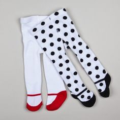 Polka Dot & Solid Shoe Tights for Baby.