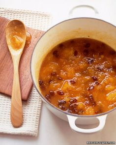 Apricot-Raisin Chutney - Martha Stewart Recipes. Guess what's for dinner tonight on top of grilled pork chops? :D