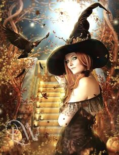 Items similar to sexy fantasy Halloween Witch art with crow and pumpkins art print on Etsy Fantasy Witch, Witch Art, Dark Fantasy, Fantasy Kunst, Fantasy Art, Dragons, Autumn Witch, Beautiful Witch, Crow Art