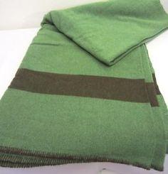 VINTAGE WOOL BLANKETS | Vintage Lodge Cabin Dark Green Wool w Black Stripe Camp Blanket Twin ...