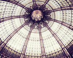 Photographie de Paris, Art mural géométrique, Mauve prune violet, vitrail, reproduction d'Architecture - plafond oursin de mer