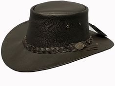 High quality leather Stylish braided hat band Lightweight and comfortable Crush-able- perfect for on the go Brim Carefully handcrafted Grommets in crown for ventilation Leather Cowboy Hats, Cowboy Boots, Western Hats, Western Style, Leather Accessories, Hats For Men, Real Leather, Mens Fashion, Brown