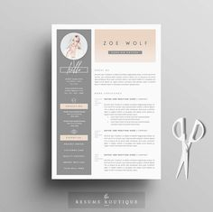 "Resume Template and Cover Letter + References Template for Word | DIY Printable 4 Pack | The ""Dolce Vita"" 