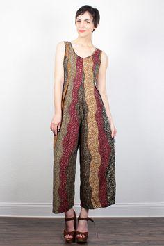 Vintage 90s Jumpsuit Gold Burgundy Green Brown Tribal Print Stripe Pantsuit Wide Leg Pants Romper Playsuit Hippie Jumper S Small M Medium by ShopTwitchVintage #vintage #etsy #90s #1990s #romper #jumpsuit #pants #palazzo #boho #tribal #softgrunge