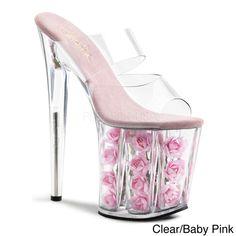 Pleaser Women's 'Flamingo-802-FL' Rosette-filled Platform Slide Heels