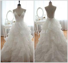 Glamorous  straps wedding dress/  Backless Organza by CharmBridal, $179.00