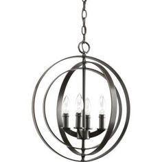 Thomasville Lighting Equinox Collection Antique Bronze 4-light Foyer Pendant-P3827-20 at The Home Depot