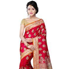 Fuchsia Art #BanarasiSilk #Saree with Blouse