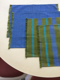 Vintage Mid Century Modern Cotton Placemats Blue & Green Woven Design tagged Fred and Barbara Meiers