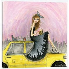 East Urban Home 'Travel in Style Series: New York' by Bella Pilar Painting Print on Wrapped Canvas Size: