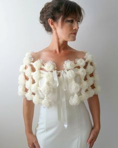Bridal capelet crochet wrap wedding shawl wedding cape ivory capelet cream wrap flower cape bridal cape fast shipping ready to ship Crochet Bolero, Crochet Snood, Crochet Cape, Crochet Scarves, Bridal Bolero, Bridal Lace, Crochet Wedding Dresses, Bridal Cover Up, Wedding Cape
