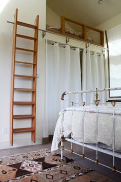 loft railing--like metal on it, no farther apart than a Coke can, like color of wood on it, and need to close in kitchen opening Loft Railing, Loft Stairs, Bunk Beds With Stairs, Loft Beds, Cabin Loft, Library Ladder, Ladder To Loft, Loft Ladders, Murphy Bed Ikea